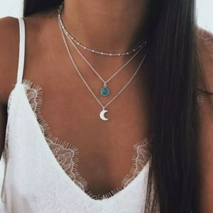 Boho Layered Necklace Choker Moon Festival Style